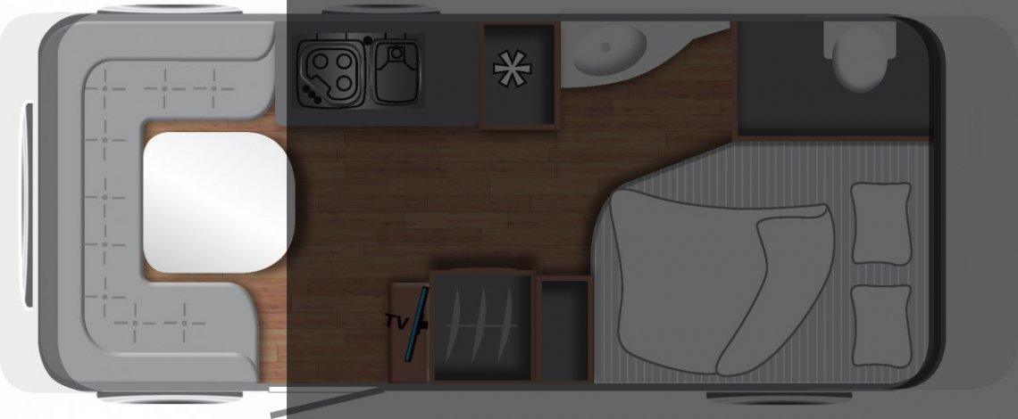 Plattegrond caravan met rondzit