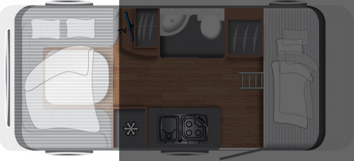 Wohnwagen Grundriss Hubbett
