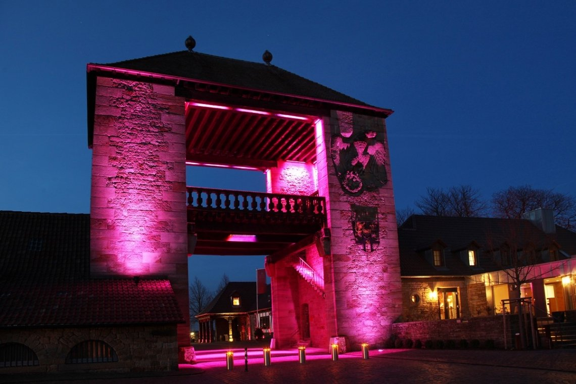 Illuminated German Wine Gate in Schweigen-Rechtenbach