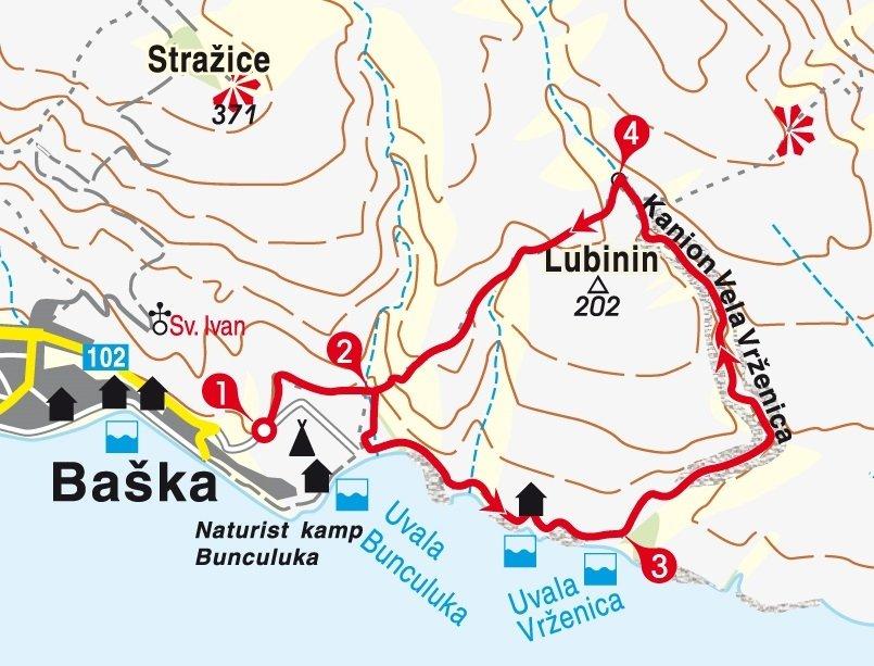 Karte Wanderung Kroatien Insel Krk