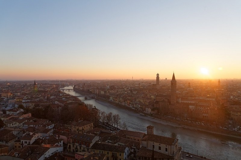 View on Verona in northern Italy at sundown