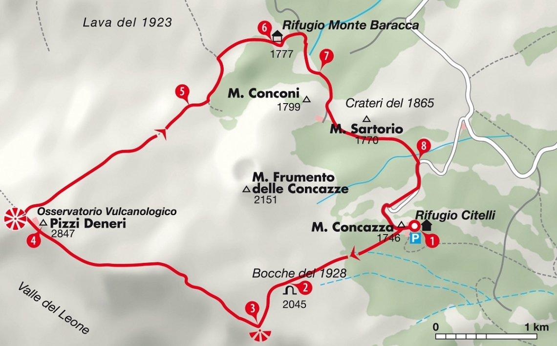Karte Sizilien Wanderung Ätna