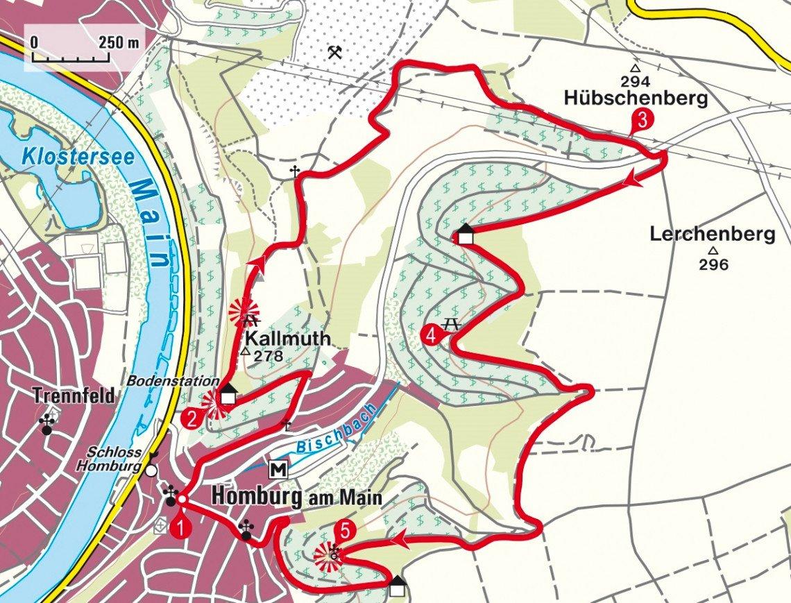 Karte der Rundwanderung auf den Kallmuth