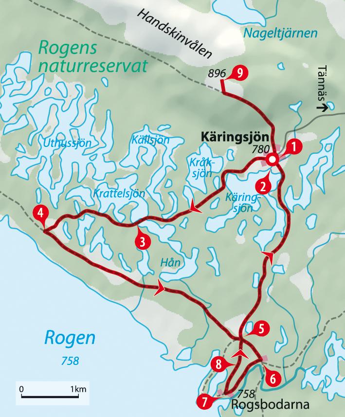 Karte Schweden Wanderung am See Rogen