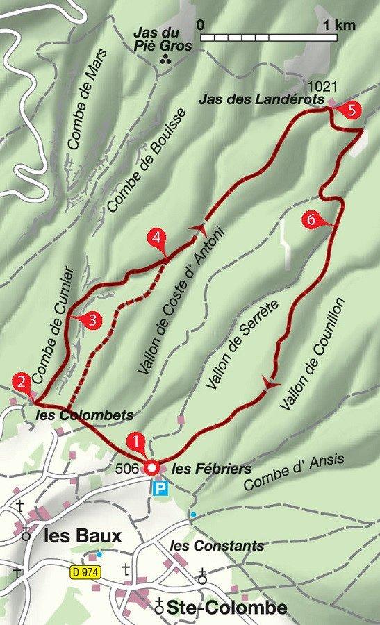 Karte Wanderung Combe de Curnier