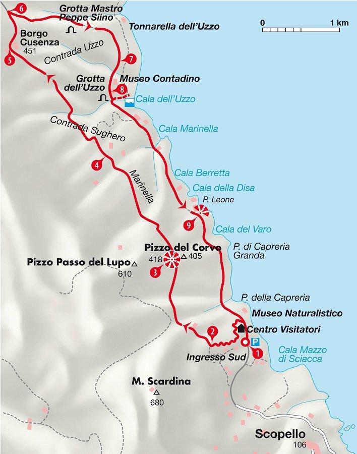Karte der Wanderung auf Sizilien