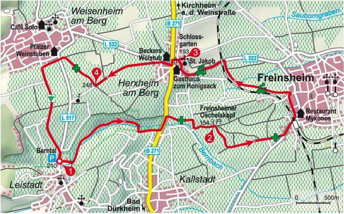 Kartenansicht der Rundwanderung von Leistadt nach Freinsheim