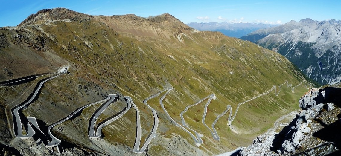 Bird's eye view of the hairpin bends of the Stelvio Pass