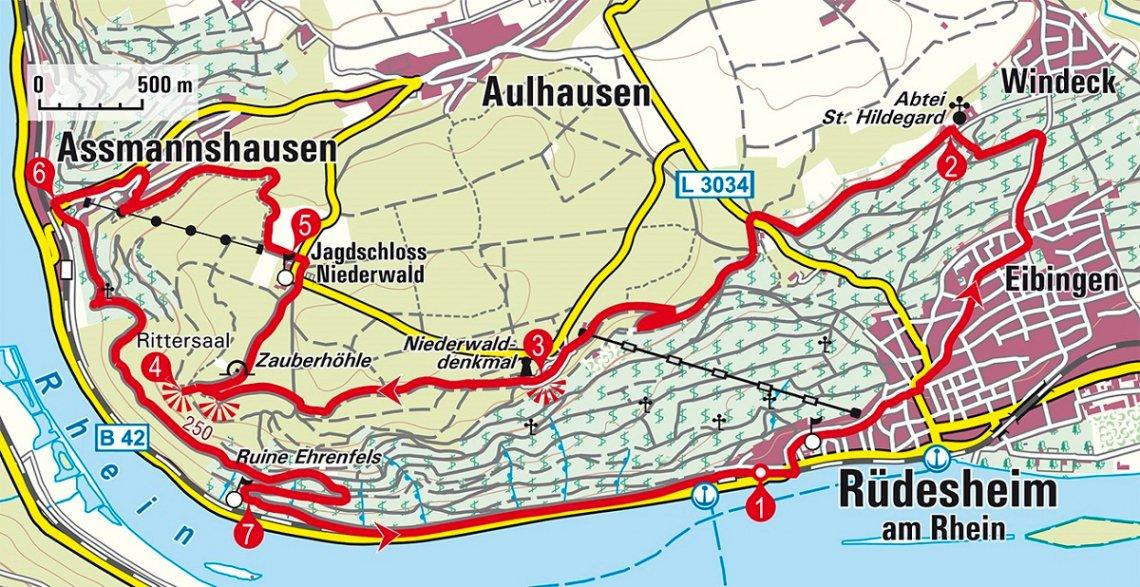 Karte der Wanderung bei Rüdesheim am Rhein
