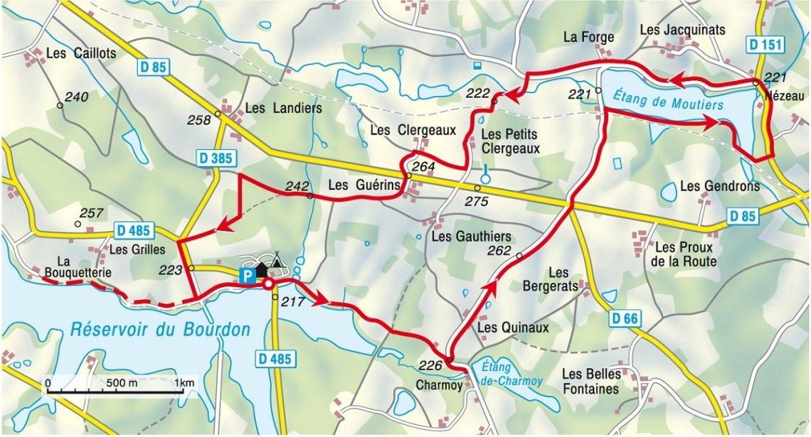 Ausschnitt Karte Wanderung Burgund