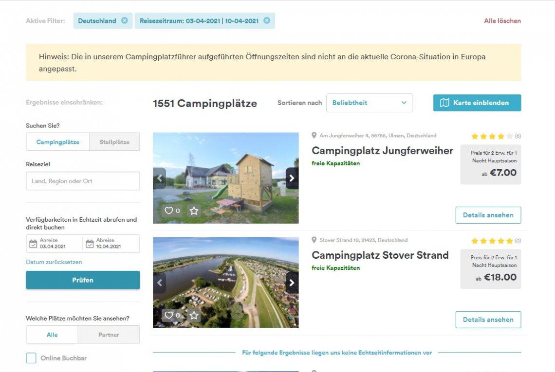 Screenshot Freeontour Campingplatzführer Verfügbarkeiten