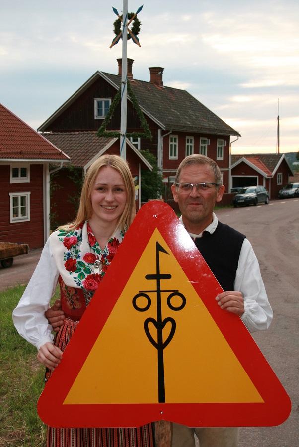 Verkehrsschild Mittsommer Dalarna Schweden