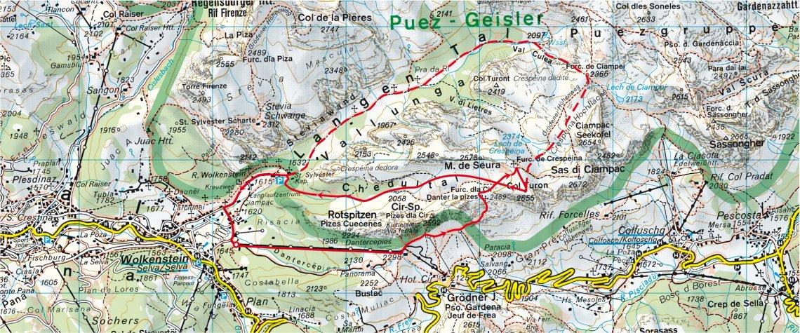 Uebersichtskarte der Skitour in den Dolomiten am Col Turon