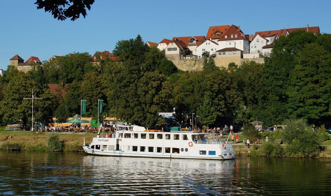 Blick auf die Altstadt von Marbach oberhalb des Neckar