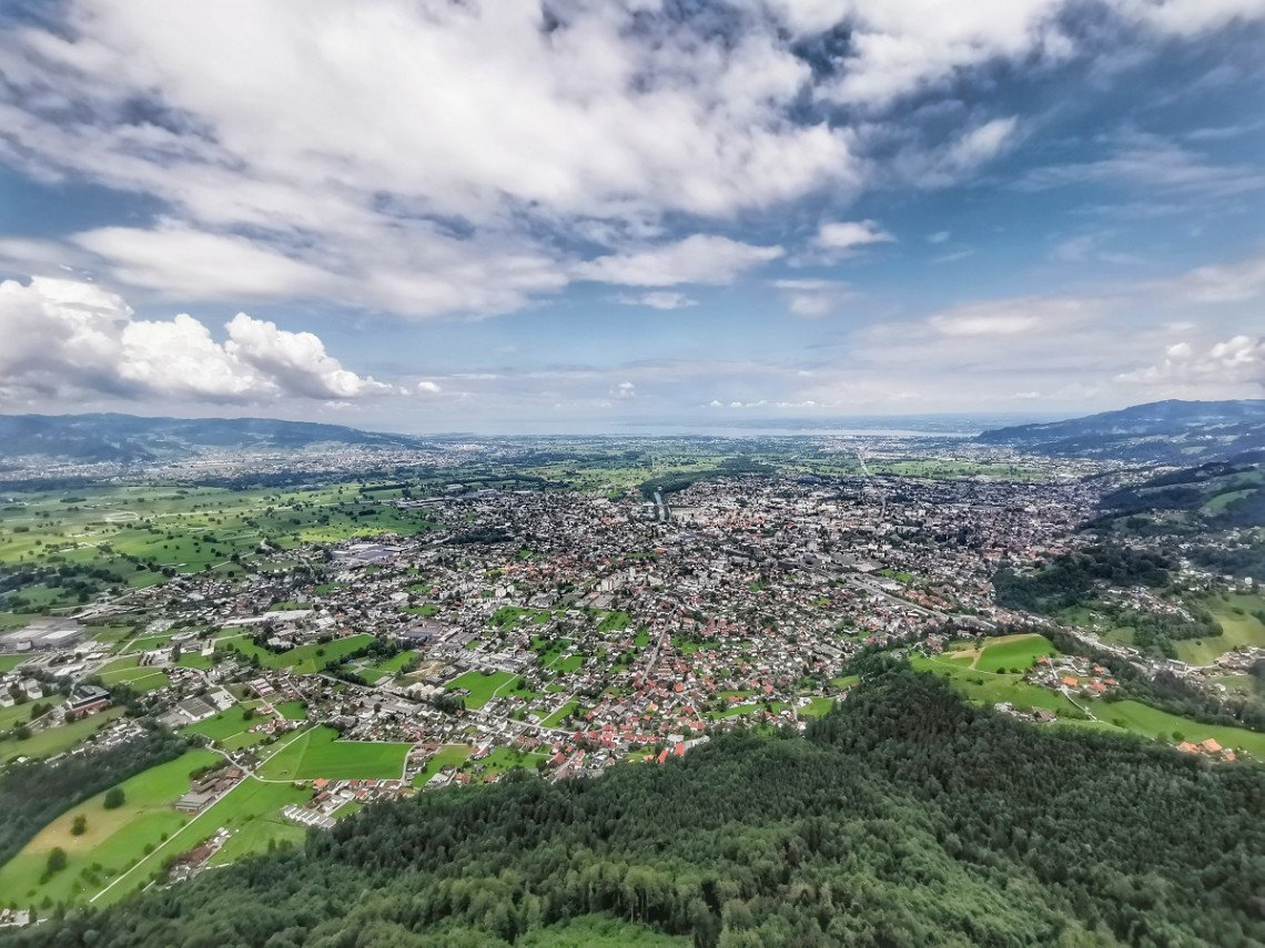 View from Karren to Dornbirn with Lake Constance in the background