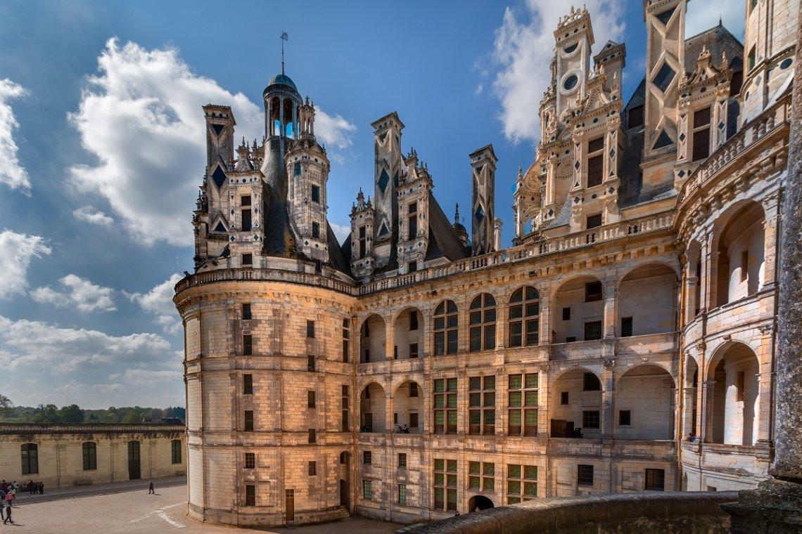 Dacharchitektur Schloss Chambord im Loiretal, Frankreich
