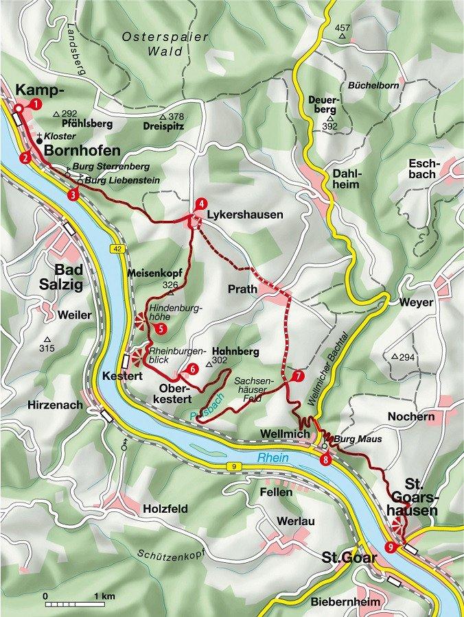 Karte der Wanderung von Kamp nach St. Goarshausen
