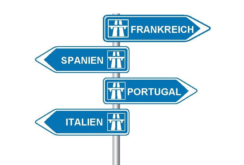 Autobahn Wegweiser Frankreich, Spanien, Portugal und Italien