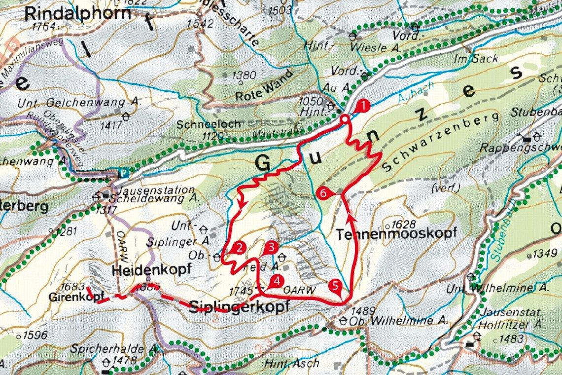 Karte der Wanderung aus dem Günzesried auf den Siplingerkopf