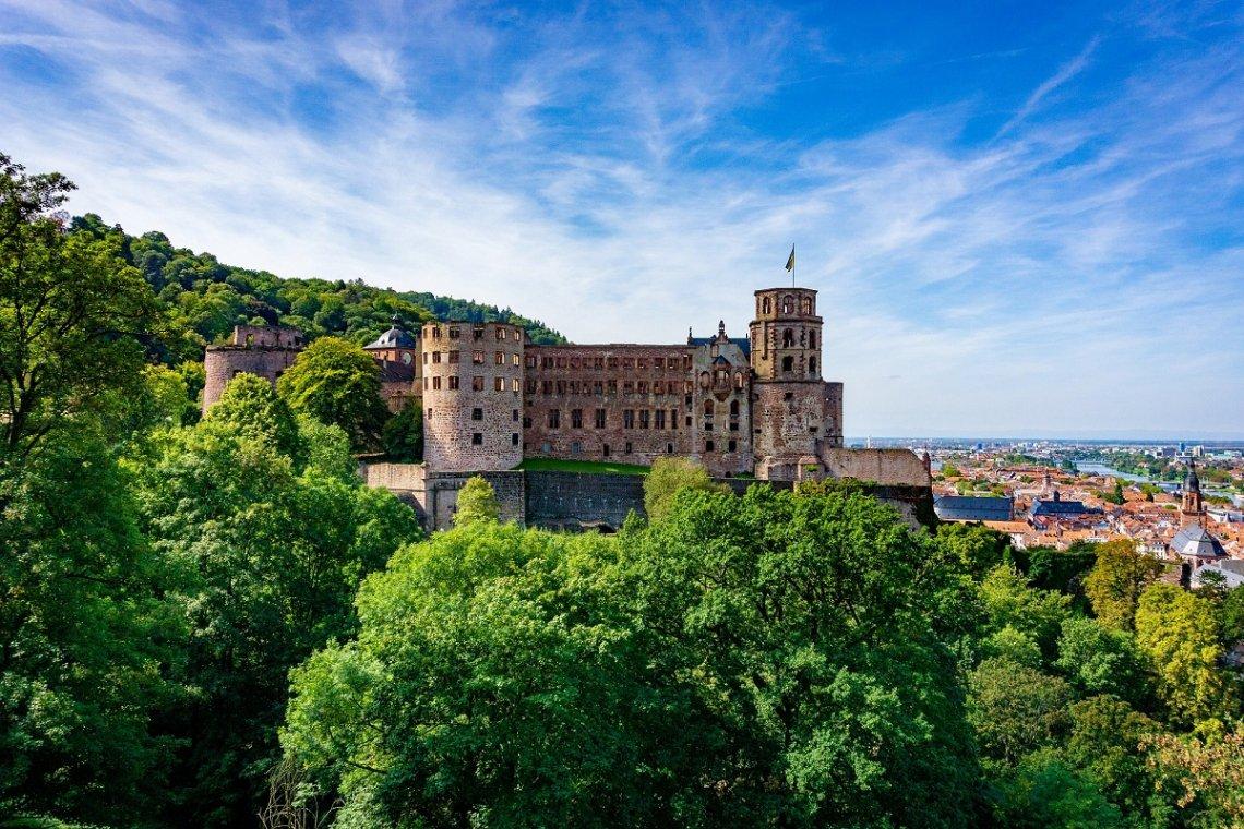 Blick auf das Heidelberger Schloss und die Stadt