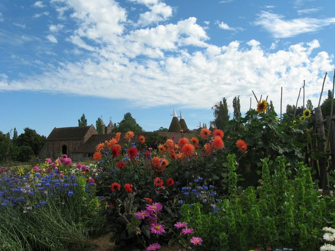 Sommerblumen in den Gärten von Sissinghurst, Kent