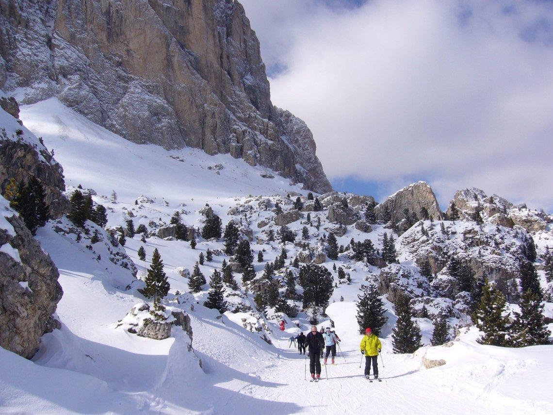 Skiabfahrt Steinerne Stadt in den Dolomiten