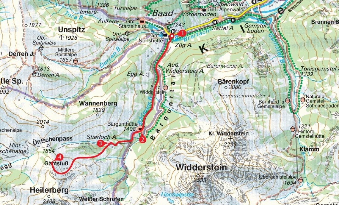 Karte der Schneeschuhtour auf dem Gamsfuß
