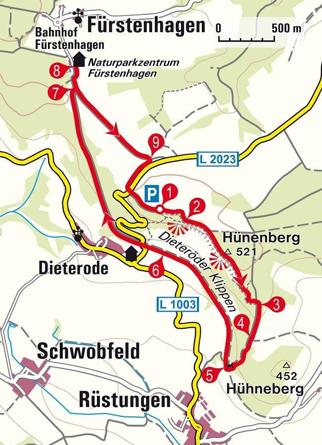 Überblick Karte Wanderung zu den Dieteröder Klippen