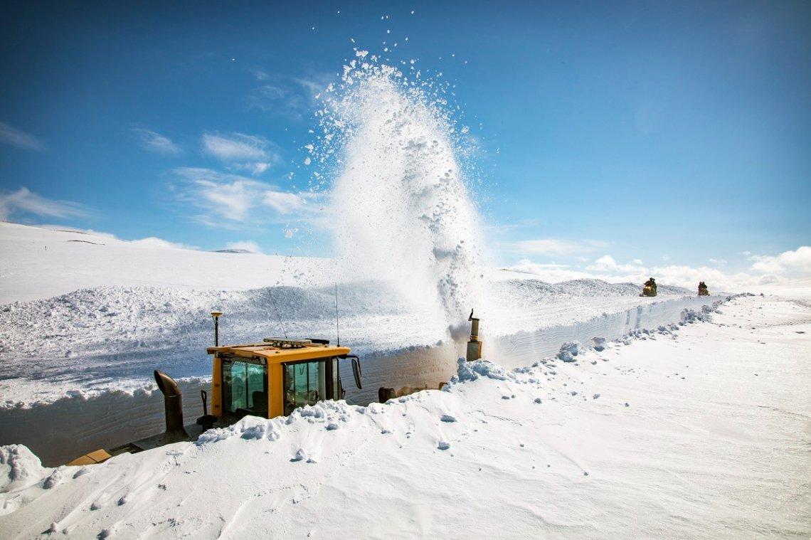 Snow removal vehicle in northern Sweden near Stekenjokk, Vilhelmina