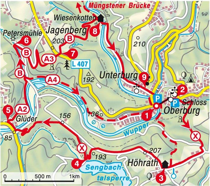 Karte und Varianten der Wanderung durch das Tal der Wupper