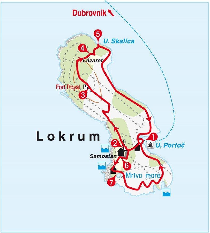 Karte Erlebnistour Insel Lokrum