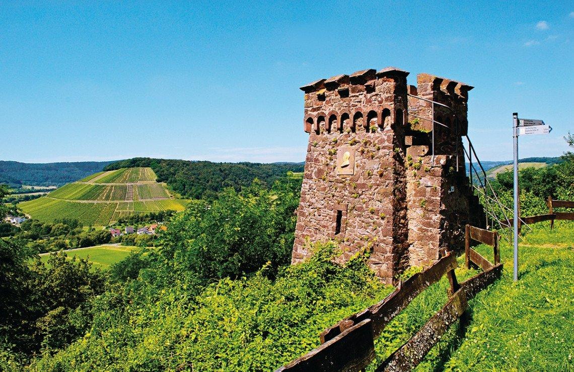 Blick vom Bismarckturm auf dem Geisberg ins Tal