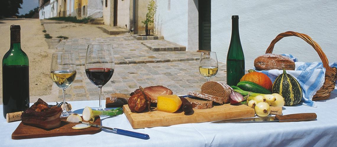 Wine and snack in Mailberg in the Weinviertel, Austria