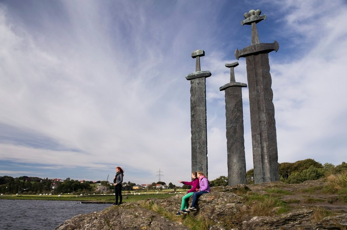 Monument swords in the rock near Stavanger, Norway