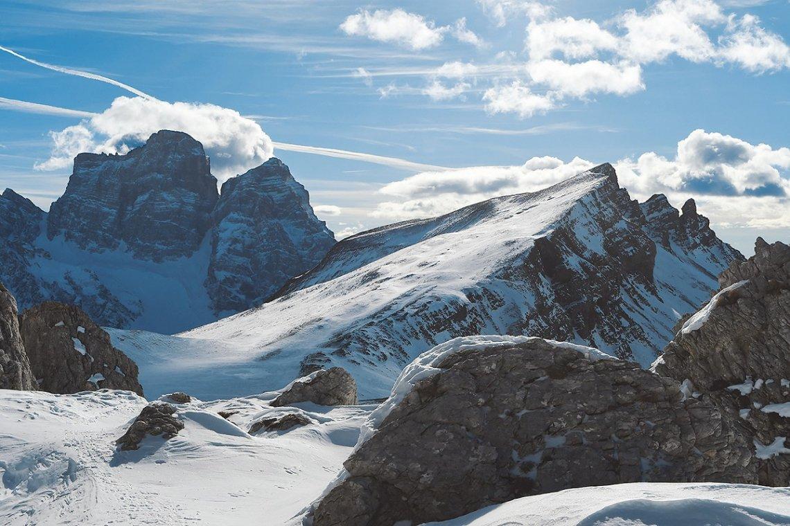 Blick auf Monte Pelmo und Monte Mondeval