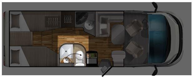 Grundriss Variobad im Wohnmobil