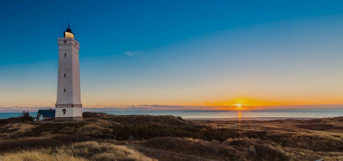 Blåvandshuk Fyr lighthouse at sunset