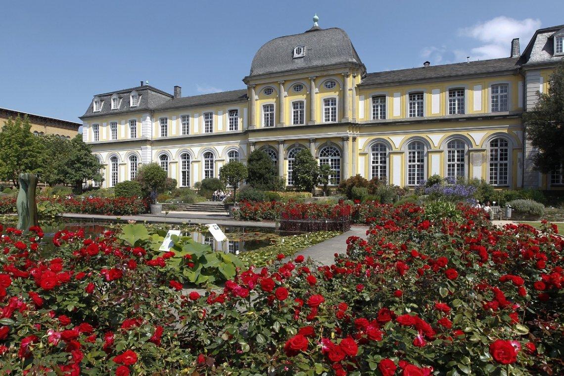 Blick aus dem Botanischen Garten auf das Poppelsdorfer Schloss in Bonn