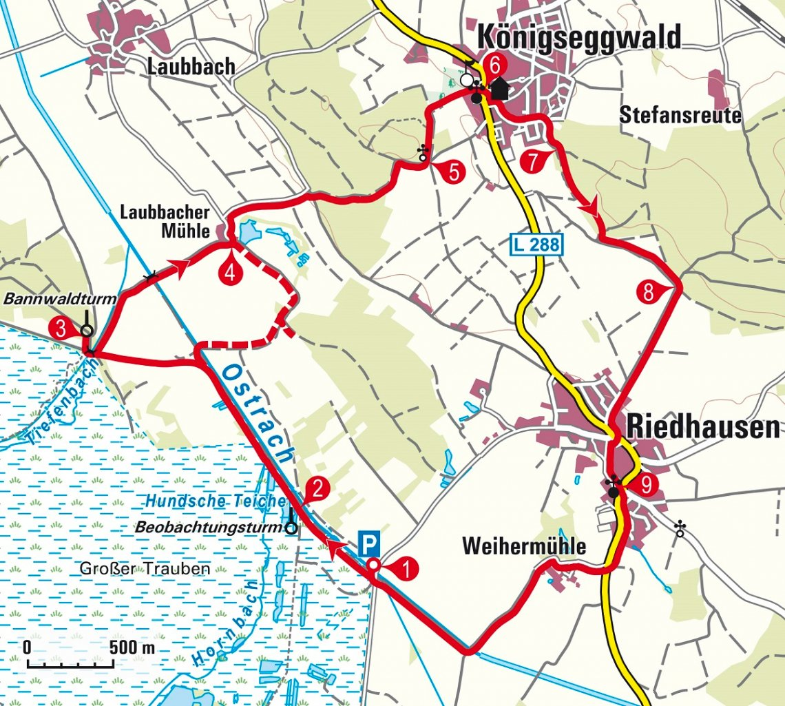 Karte Wanderung Burgweiler Ried