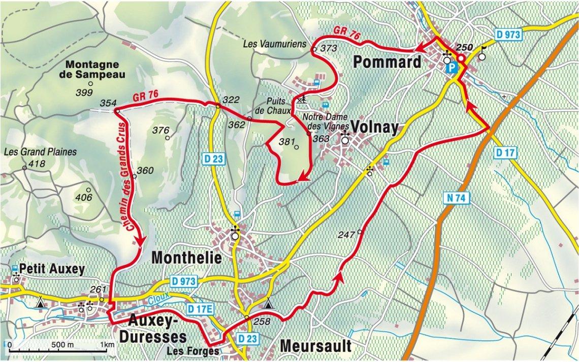 Karte Wanderung Weinberge Côte de Beaune